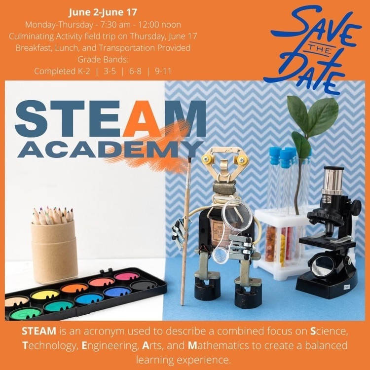 Save the Date STEAM Academy